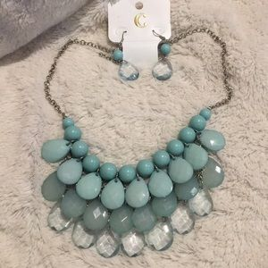 Mint beaded necklace and earring set